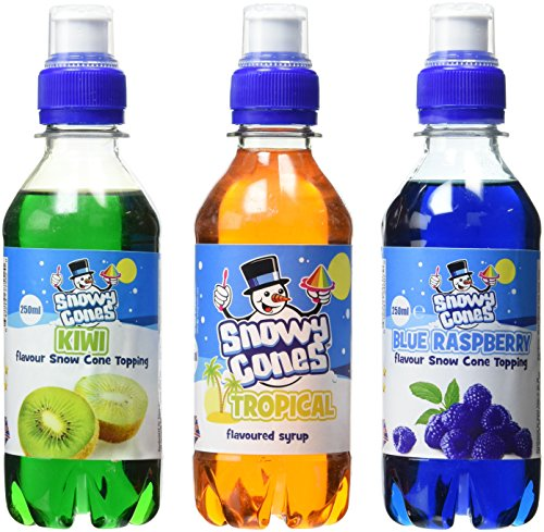 Snowycones Blue Hawaii Flavour Syrups Blue Raspberry/Tropical/Kiwi 250 ml (Pack of 3)