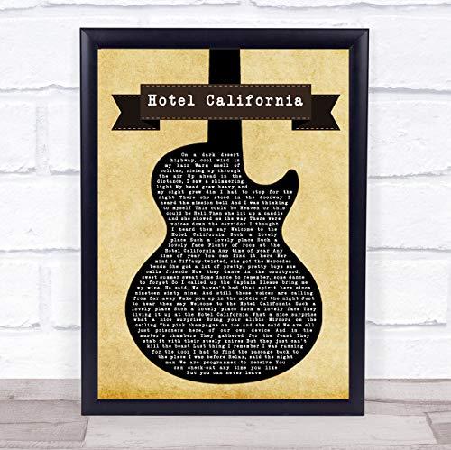 Hotel California Black Guitar Song Lyric Quote Print (Hotel California Lyrics)