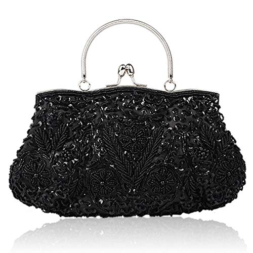 MORER Beaded Sequin Design Flower Evening Purse Large Clutch Bag (Black)