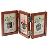CECIINION Wood Folding Photo Frame Triple Duplex Hinged Picture Frames with Glass Front, Fit for Stands Vertically on Desk Table Top, 6 Photos Shows for 4x6in Photographs