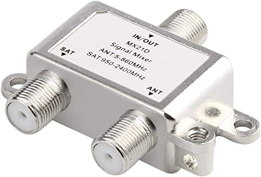 Impermeable 2 en 1 2 Maneras Satélite Splitter TV Cable de señal TV Mezclador de señal Sat/Ant Diplexor Ligero y Compacto(Color:Silver)