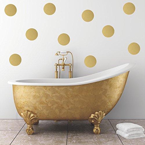 Polka Dot Circles Vinyl Wall Pattern Decals (10x10 Set of 12, Gold)