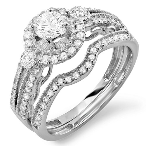 0.98 Carat (ctw) 14K White Gold Round Cut White Diamond Ladies Bridal Halo Engagement Ring Set With Matching Band 0.40 CT Center Included 1 CT (Round Center Ct 0.4)
