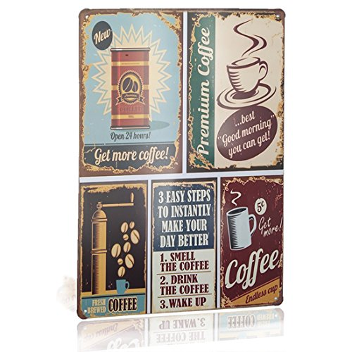 Joyingle Tin Sign Coffee Vintage Funny Metal Tin Sign Retro Cafe Home Decor Metal Plaque Bar Pub Poster 8 x 12 Inch -