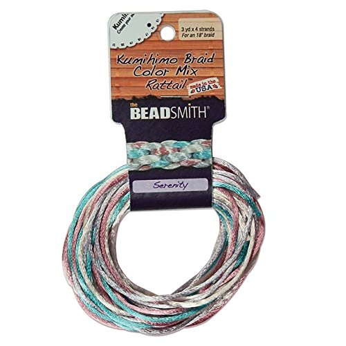 Beadsmith XCR-3038 Serenity Mix 4 Colors Satin Rattail Cord, 3 yd/2mm