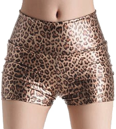 - Sexy Shiny Stretchy Metallic Liquid Wet Look High Waist Shorts Hot Pants,Yellow