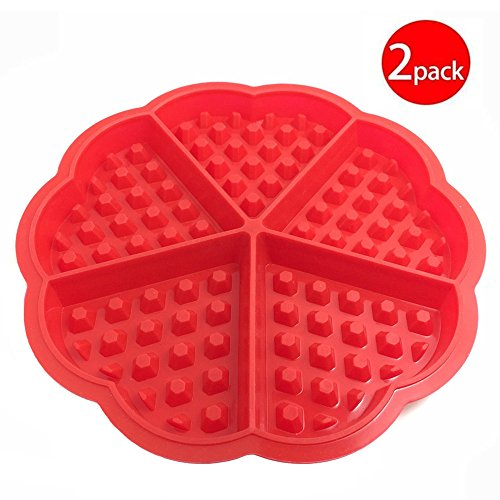 Cy3Lf Heart-shaped Silicone Waffle Mold Silicone Cake Bakeware Checkered Baking Tools, Red(Pack of 2)