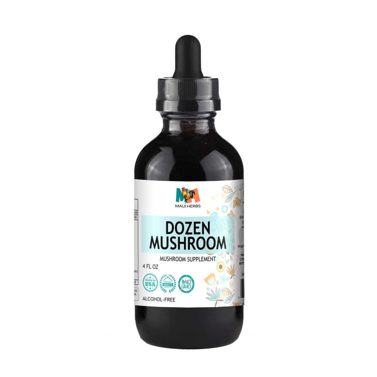 Dozen Mushroom Immune Support Tincture 4 fl oz Alcohol-Free Extract (Agaricus, Chaga, Maitake, Reishi, Cordyceps, Enokitake, Mesima, Turkey Tails, Lion's Mane, Agarikon, Shiitake, Artist's Conk)