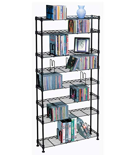 Atlantic Maxsteel 8 Tier Shelving - Heavy Gauge Steel Wire Shelving for 440 CD/228 DVD/264 BluRay/Games Media in Black - - Dvd Storage Rack