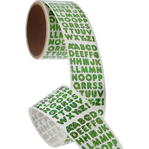 - Bulk Roll Prismatic Stickers, Green Alphabets (50 Repeats)
