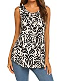Halife Women's Paisley Printed Pleated Sleeveless Blouse Shirt Casual Flare Tunic Tank Top