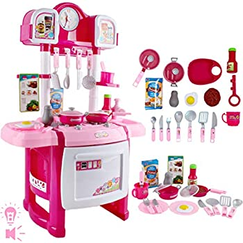 deAO My Little Chef Kitchen Playset Role Playing Game with Light and Sound, Water Features and 18 Accessories Included (Pink)