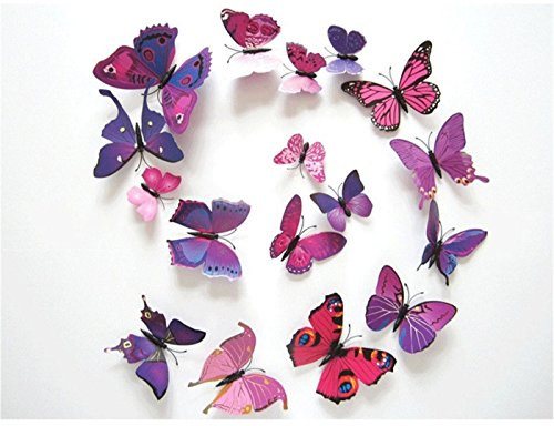 HAKDAY-24-PCS-3D-Butterfly-Wall-Stickers-Crafts-Butterflies-DIY-Art-Decor-Home-Room-Decorations12-PCS-for-Blue-and-12-PCS-For-Purple