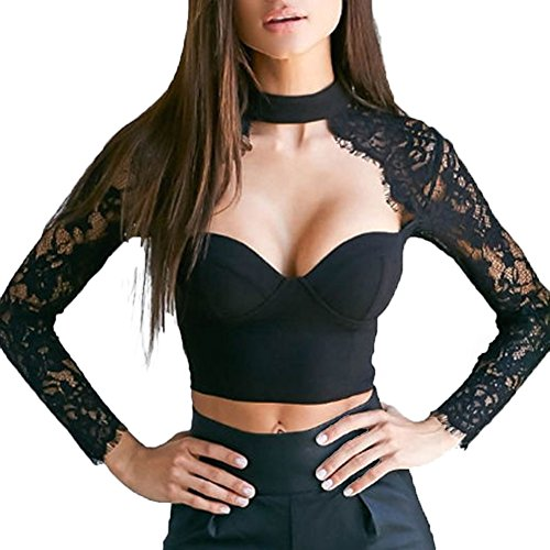 Finelook Womens Sexy Lace Long Sleeve Shirt Choker Crop Top Padded Bustier (XL, Black)