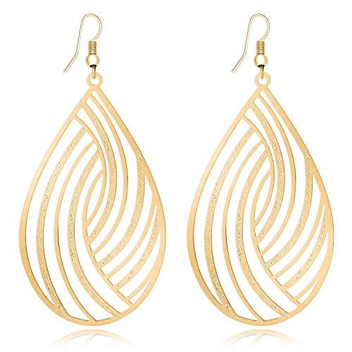 Women Fashion Lightweight Teardrop Earrings Gold Alloy Hook Statement Cutout Filigree Earrings Dangle