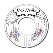 CarrieDee Handcrafted Baby Clothes Size Dividers, Girls Dreamcatcher Nursery Closet Organizers, Baby Girl Boho Dreamcatchers Nursery Decor (Set of 6 (0-3m - 18-24m))