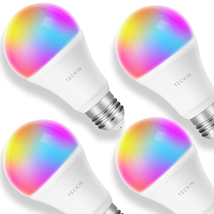 Smart LED Bulb E27 WiFi Multicolor Light Bulb Compatible with Alexa, Echo, Google Home and IFTTT (No Hub Required), TECKIN A19 60W Equivalent RGB Color Changing Bulb (7.5W), 4 Pack