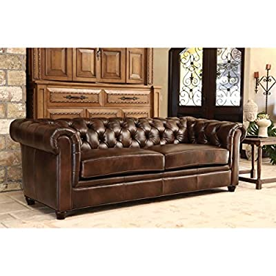 Italian Leather Sofa Couch, Premium Tufted Rolled Arm Design With Elegant Padded Cushions and Luxury Back Support - Made of Top Grain Leather for Extreme Comfort.