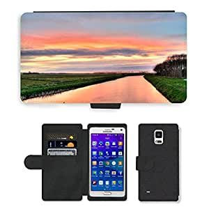 Super Stella Cell Phone Card Slot PU Leather Wallet Case // M00421869 River Sunset Hdr Nature Exposure // Samsung Galaxy Note 4 IV