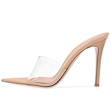 Lyy Pvc yy Chevillehauteur 13cm De Mules Sandales Talon11 Bride À Super Femmes Chaussures Haute La Transparent Pantoufles D9IEHW2Y