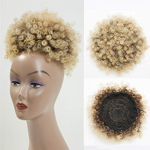 BEIRA Synthetic Afro Puff Drawstring Ponytail Short Kinky Curly Hair Bun Extension Donut Chignon Hairpieces Wig Updo Hair Extensions with Two Clips4/613