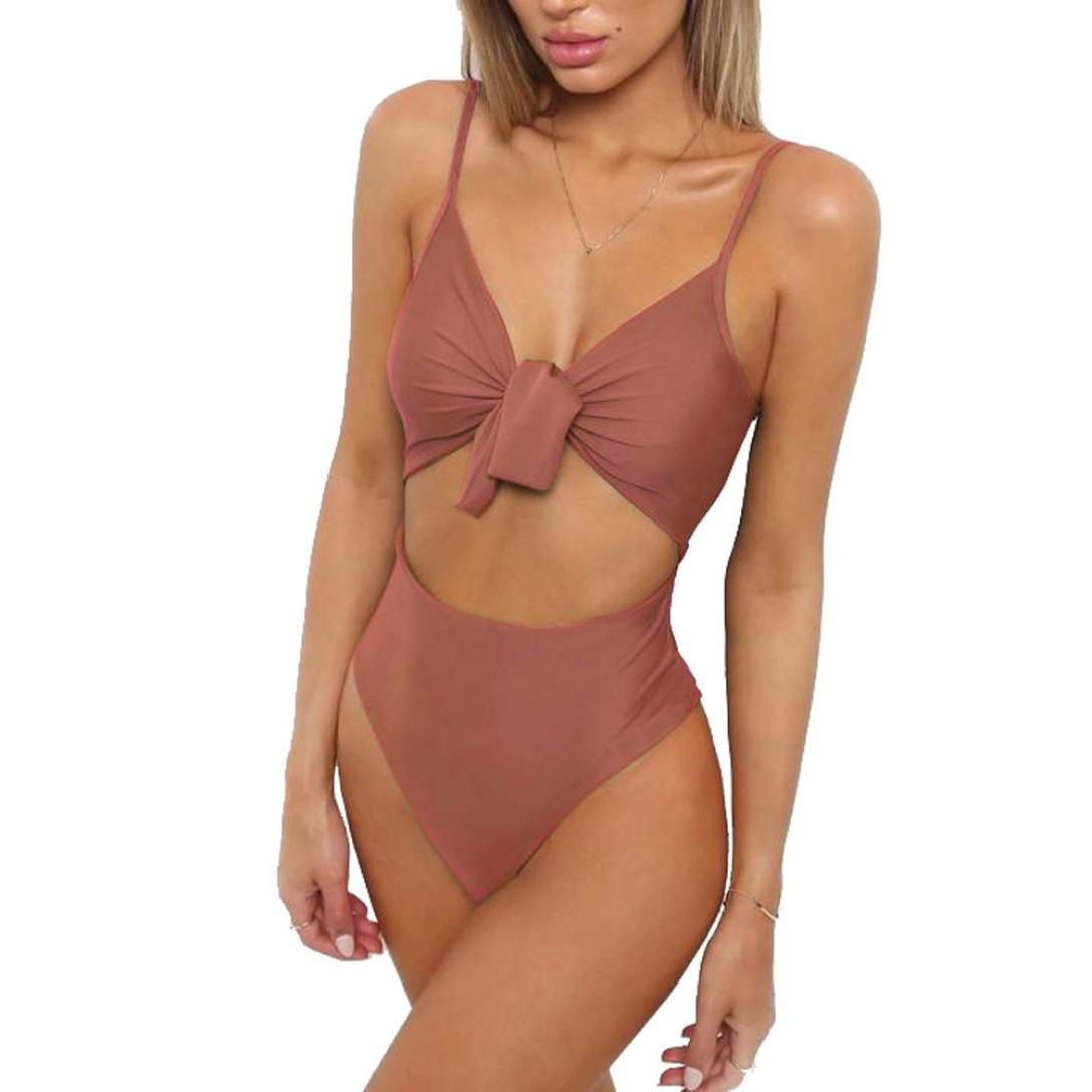 Skinny Bodysuits- Women Hollow Out Push-Up Straps Bikini One Piece Susenstone Susenstone - 3775 CloYongYi - 323