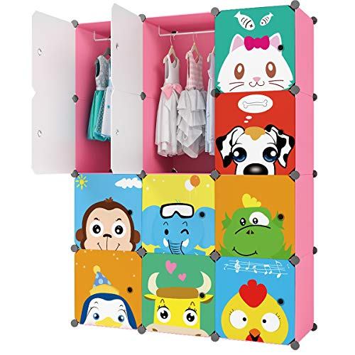 KOUSI Kid Dresser Baby Clothes Rack Kid Wardrobe Closet Bedroom Armoire Cube Organizer Formaldehyde-Free Furniture(Pink, 8 Cubes 2 Hanging Sections)