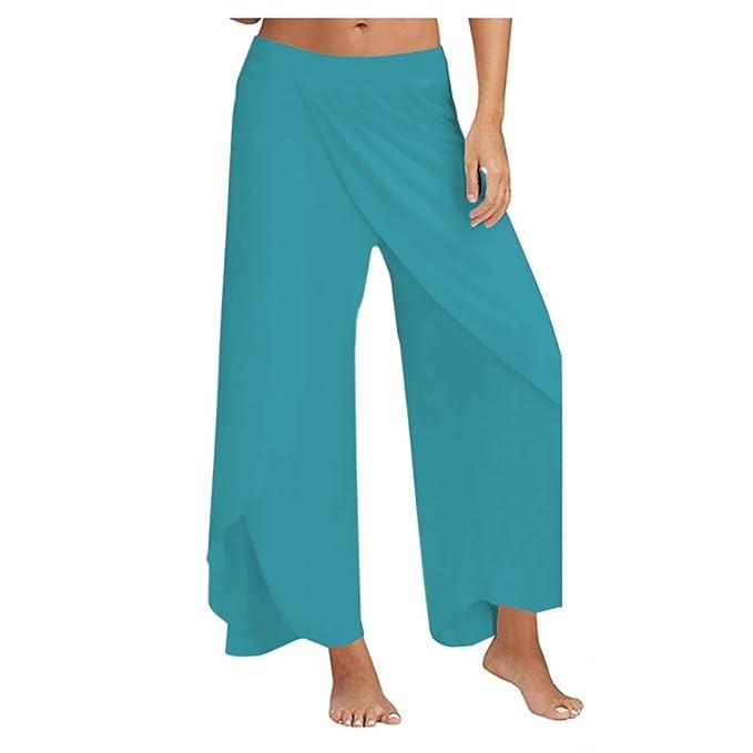 Pantalones Anchos para Mujer Deportivos Cintura Elástica ...