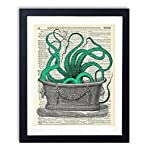 Octopus In The Tub Upcycled Vintage Dictionary Art Print 8x10 4