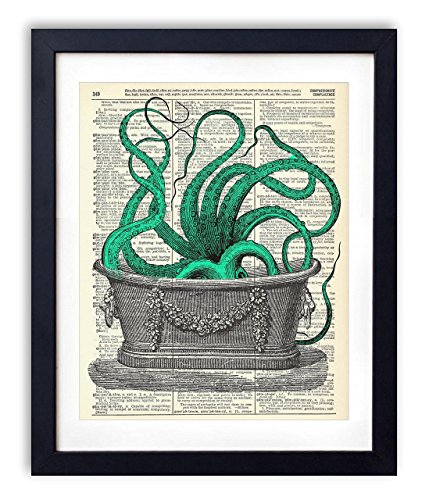Octopus In The Tub Upcycled Vintage Dictionary Art Print 8x10 by Vintage Book Art Co.