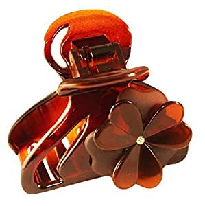 Parcelona French Beau 2.5 Inch Crystal Celluloid Tortoise Shell Jaw Hair Claw Clip