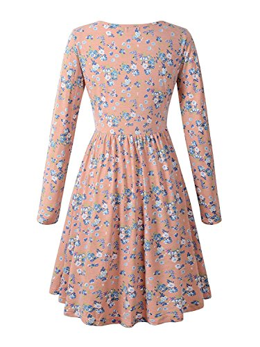MRstriver Women Long Sleeve Scoop Neck Pleated Casual Floral Dress with Pockets 17-3Small]()