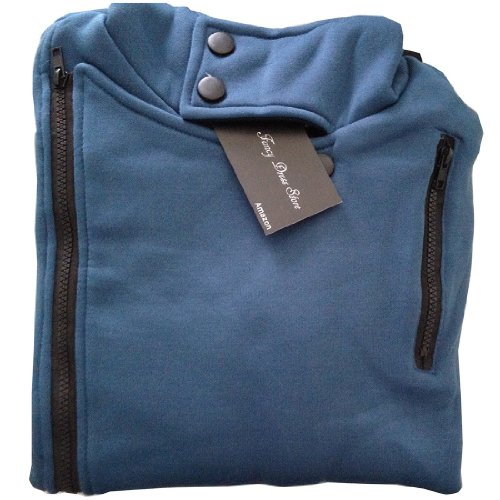Partiss Mens Zipper Hoodie (L, Blue)
