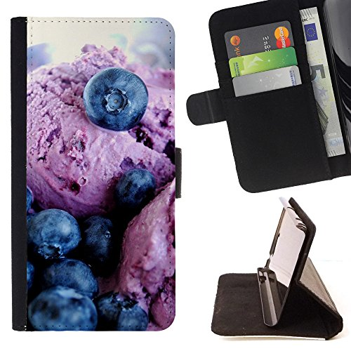 God Garden - FOR Apple Iphone 5 / 5S - Blue Berry Ice Cream - Glitter Teal Purple Sparkling Watercolor Personalized Design Custom Style PU Leather Case Wallet Fli