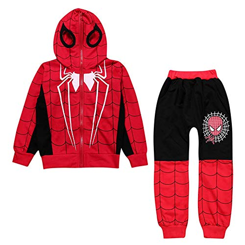 2Piece Toddler Kids Baby Boys Spiderman Outfits Set,Long Sleeve Full Zip Hoodie Sweatshirt Joggers Pants Clothing