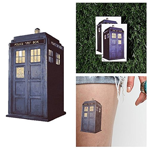 [Tattify TARDIS Temporary Tattoo - Big Blue Box (Set of 2) - Other Styles Available and Fashionable Temporary] (Tardis Costume Etsy)