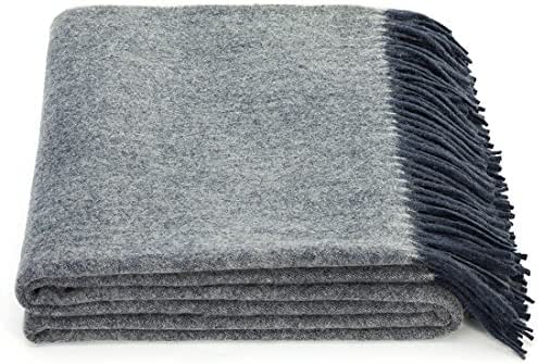 spencer & whitney Bed Blanket Throw Wool Blanket Denim Blue Blanket Australian Wool Throws Cashmere Wool Shawl Wrap Soft Lightweight Blanket Throws for Couch Bed