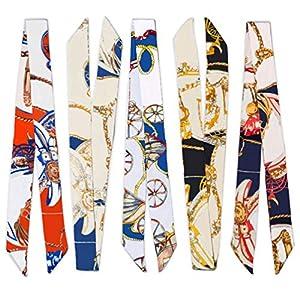 5PCS Fashion Bag Scarf Handbag Handle Ribbon Scarf for Women's Package Band Bracelet Hair Head