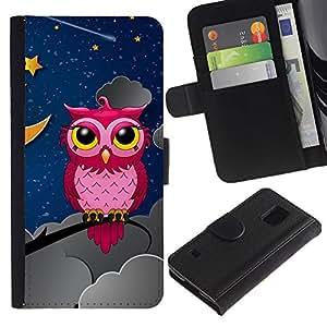 UNIQCASE - Samsung Galaxy S5 V SM-G900 - Pink Owl In Night - Cuero PU Delgado caso cubierta Shell Armor Funda Case Cover