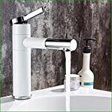 Bathroom Sink Faucet Full Copper Bathroom Spray, Double Color Black And White Washbasin Taps, Rotary Hot And Cold Bathroom Sink Faucet,White