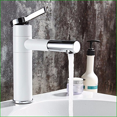 Bathroom Sink Faucet Full Copper Bathroom Spray, Double Color Black And White Washbasin Taps, Rotary Hot And Cold Bathroom Sink Faucet,White by Sink Taps FUNUAN