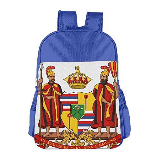 Hawaiian Coat Arms Seal School Backpack Children Shoulder Daypack Kid Lunch Tote Bags RoyalBlue