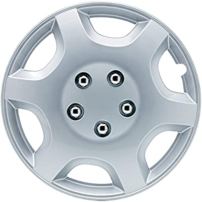 Amazon.com: SUMEX 5050110 Hub Cap (Original CAR+ Set of 4 Monaco Silver Color, Beautiful Design, Easy Installation, Universal fit for 13