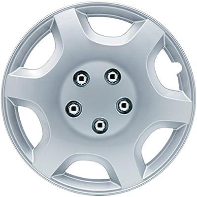 Amazon.com: SUMEX 5050110 Hub Cap (Original CAR+ Set of 4 Monaco Silver Color, Beautiful Design, Easy Installation, Universal fit for 13