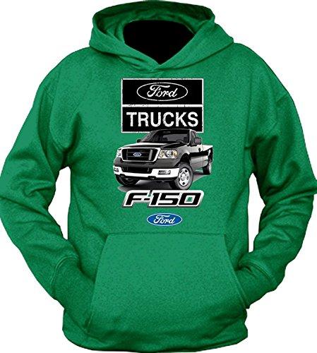 FORD TRUCKS F-150 Black 4x4 BUILT TOUGH HOODIE SWEATSHIRT, Green, S (2007 Ford F150 Fx2 Sport For Sale)