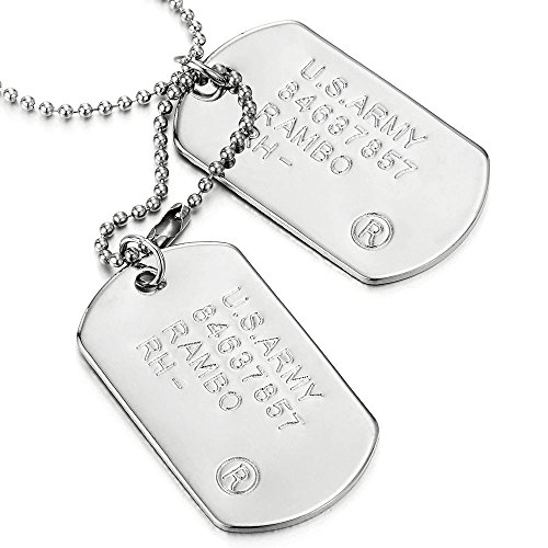 Classic Two-pieces Mens Military Army Dog Tag Pendant Necklace with 28 inches Ball (Personalized Dog Tag Pendant)