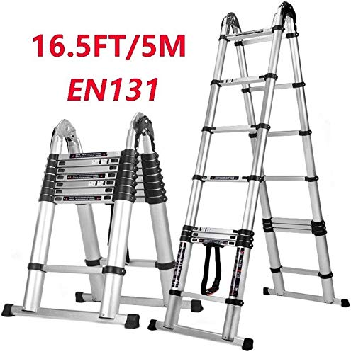 lqgpsx 16.5ft Aluminum Telescoping Extension Ladder with Support Bar, Portable Attic Stairs Folding Heavy Duty Ladders…