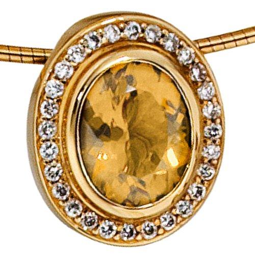 JOBO pendentif en or jaune 585 28 diamants 0,23ct. 1 citrin