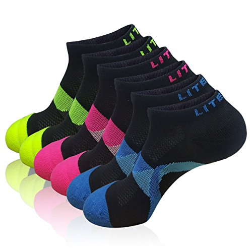 LITERRA Womens 6 Pack No Show Running Athletic Socks Low Cut Sports Cushioned Performance Sock (Low Cut Sport)