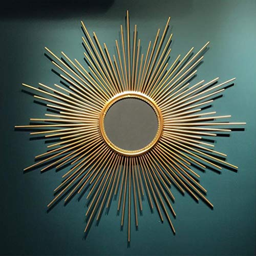 GSHWJS Wall Mirror Round Antique Metal Star Burst Hanging Mirror Wall Modern Boho Style Decor Living Room Bathroom Bedroom and Entrance Wall Mirror (Size : 70cm) ()